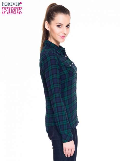 Zielono-granatowa koszula w kratę z kieszonkami                                  zdj.                                  4