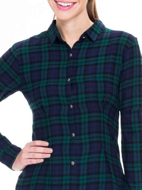 Zielono-granatowa koszulotunika w kratę                                  zdj.                                  5