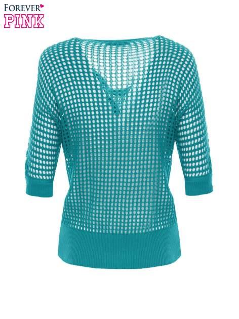 Zielony ażurowy sweter oversize                                  zdj.                                  7