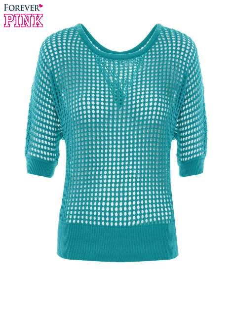 Zielony ażurowy sweter oversize                                  zdj.                                  2