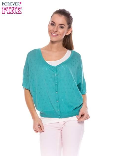 Zielony ażurowy sweterek z krótkim rękawem                                  zdj.                                  1