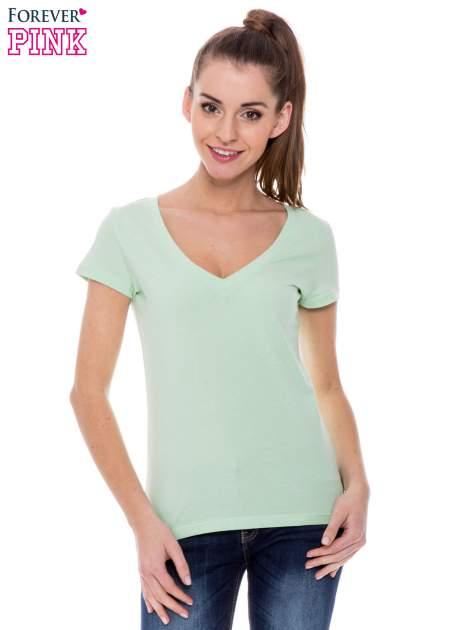 Zielony basicowy t-shirt z dekoltem w serek                                  zdj.                                  1