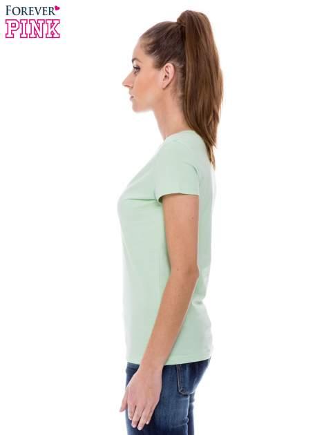Zielony basicowy t-shirt z dekoltem w serek                                  zdj.                                  3