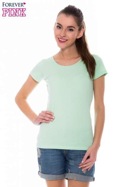 Zielony basicowy t-shirt z okrągłym dekoltem