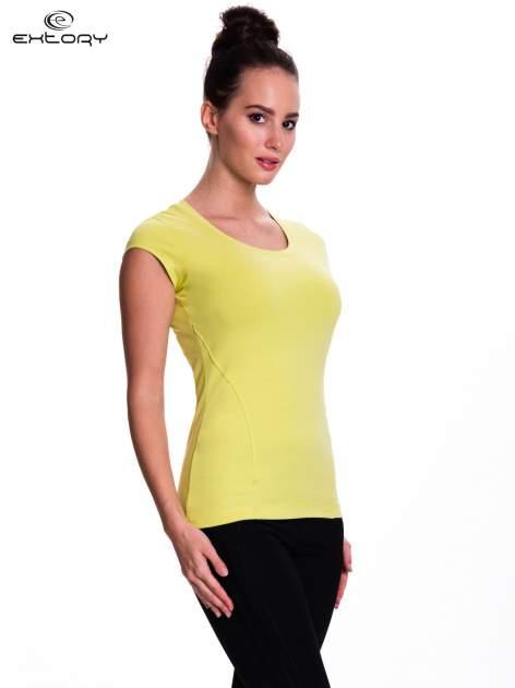 Zielony damski t-shirt sportowy basic                                  zdj.                                  3