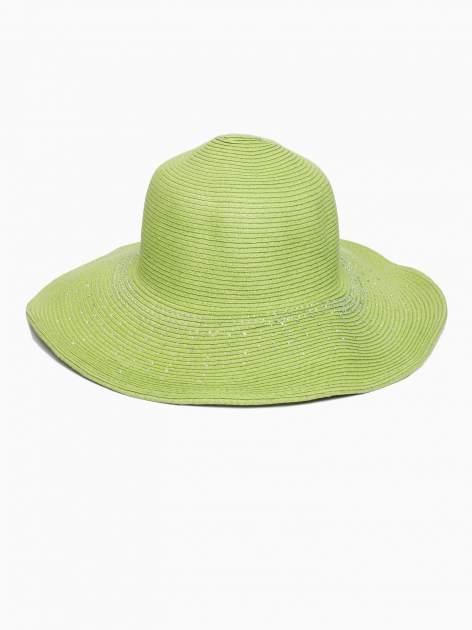 Zielony kapelusz słomiany z dużym rondem i kryształkami                                  zdj.                                  2