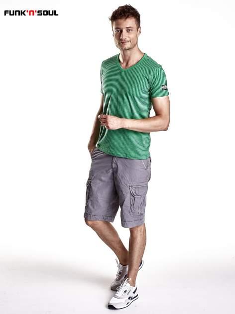 Zielony klasyczny t-shirt męski w paski Funk n Soul                                  zdj.                                  4