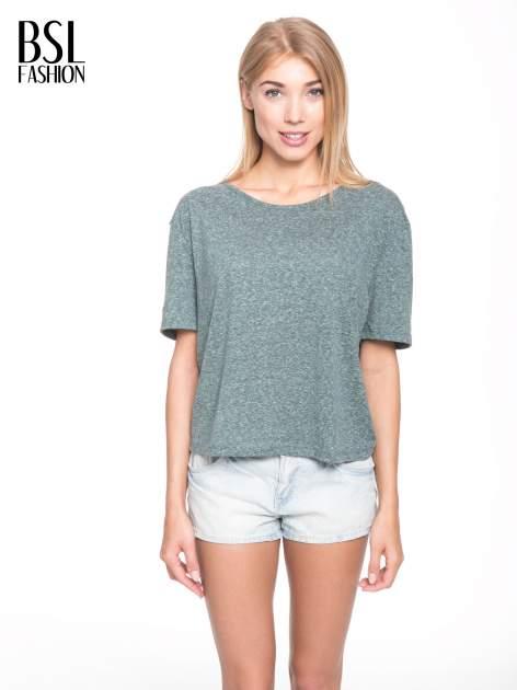 Zielony melanżowy t-shirt o luźnym kroju