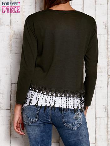 Zielony otwarty sweter z frędzelkami                                  zdj.                                  2