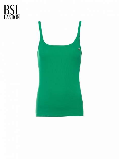 Zielony prążkowany top na cienkich ramiączkach                                  zdj.                                  2