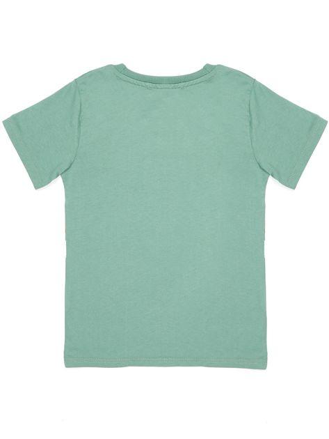 Zielony t-shirt dla chłopca z nadrukiem                              zdj.                              7