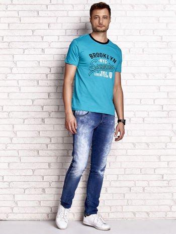 Zielony t-shirt męski z napisem BROOKLYN NYC                                  zdj.                                  4