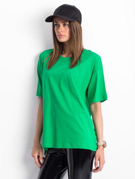 Zielony t-shirt o kroju oversize                              zdj.                              3