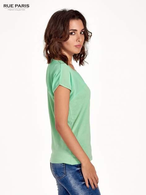 Zielony t-shirt z górą mgiełką                                  zdj.                                  3