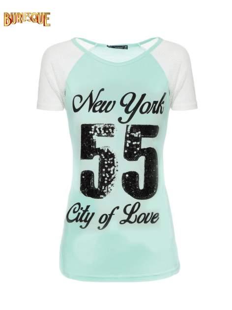 Zielony t-shirt z nadrukiem NEW YORK 55 i siatkowymi rękawami                                  zdj.                                  1