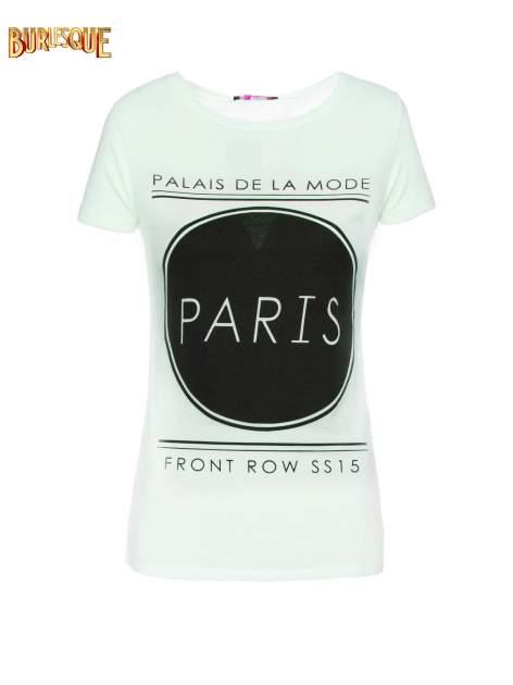 Zielony t-shirt z nadrukiem PARIS                                  zdj.                                  7