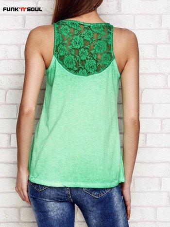 Zielony top acid wash z koronkową wstawką na plecach FUNK N SOUL