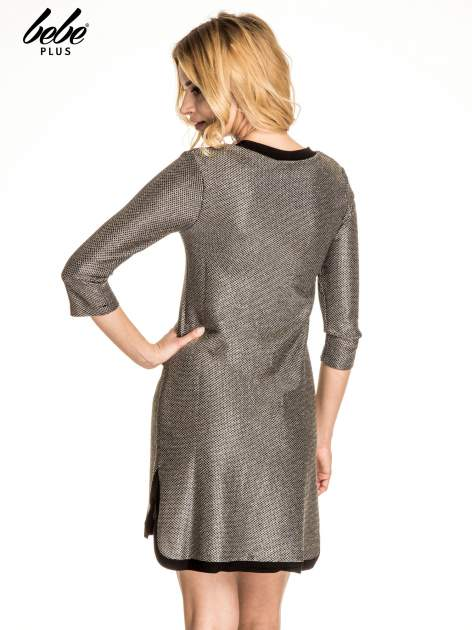 Złota sukienka z czarną lamówką                                  zdj.                                  4