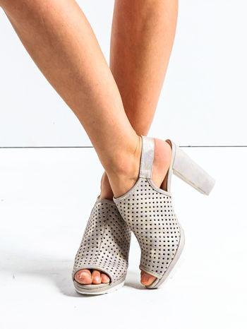 Złote ażurowe sandały na słupku                                  zdj.                                  1