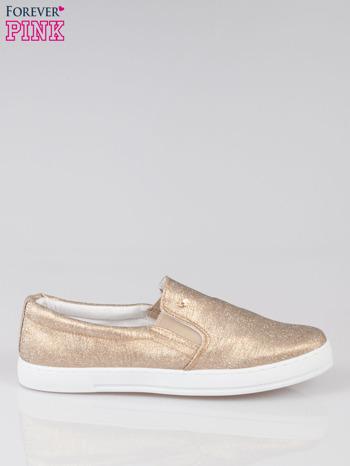 Złote buty sliponki glitter                                  zdj.                                  1