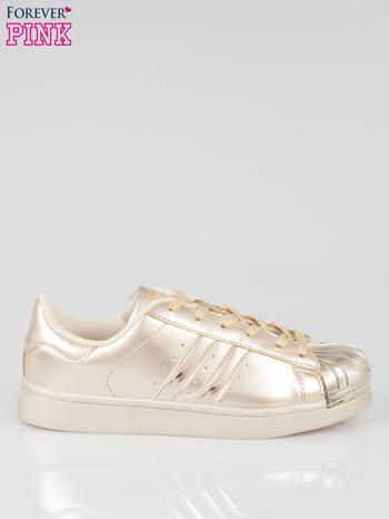 Złote buty sportowe material Enigmatic z metalicznym czubkiem