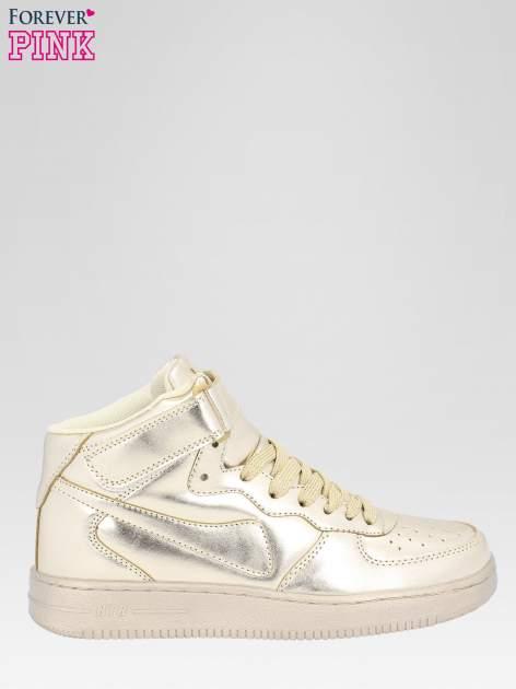Złote buty sportowe za kostkę na grubej podeszwie
