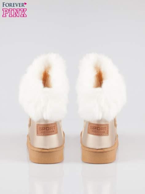 Złote krótkie śniegowce damskie z kożuszkiem                                  zdj.                                  3