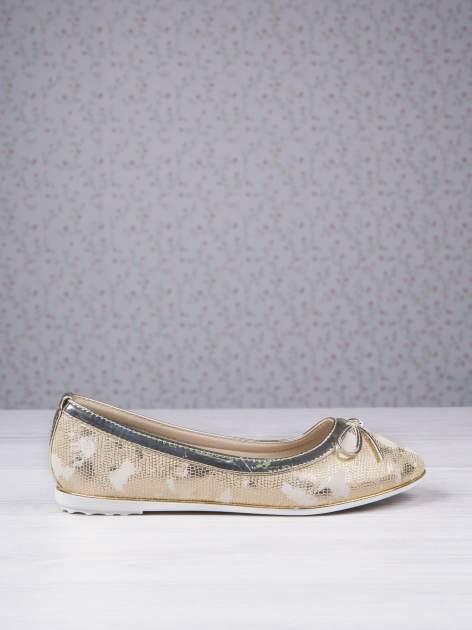 Złote marmurkowe baleriny gold leather Dream z kokardką