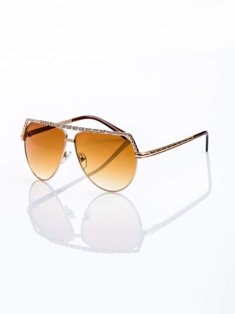 Złote okulary przeciwsłoneczne z cyrkoniami                                  zdj.                                  1