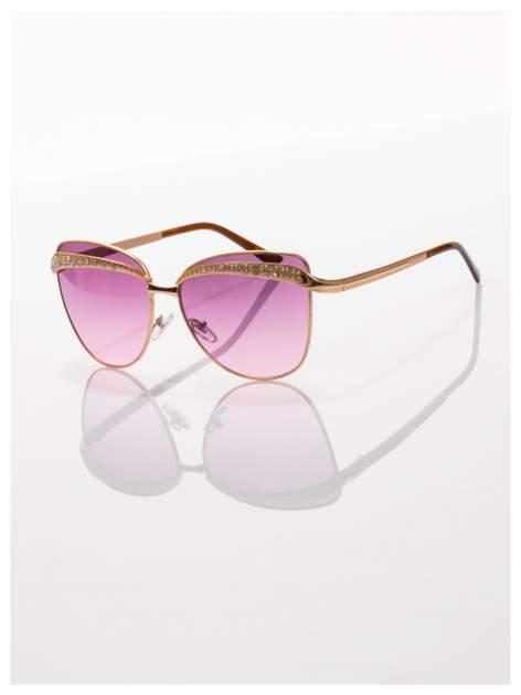 Złote okulary przeciwsłoneczne z cyrkoniami w stylu RETRO