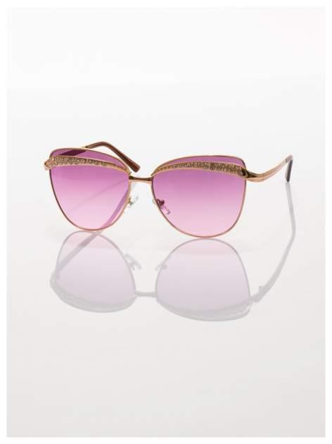 Złote okulary przeciwsłoneczne z cyrkoniami w stylu RETRO                                   zdj.                                  3