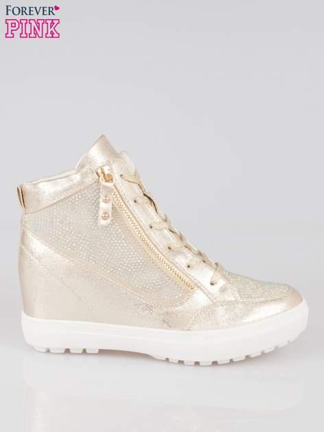 Złote sneakersy damskie z kryształkami