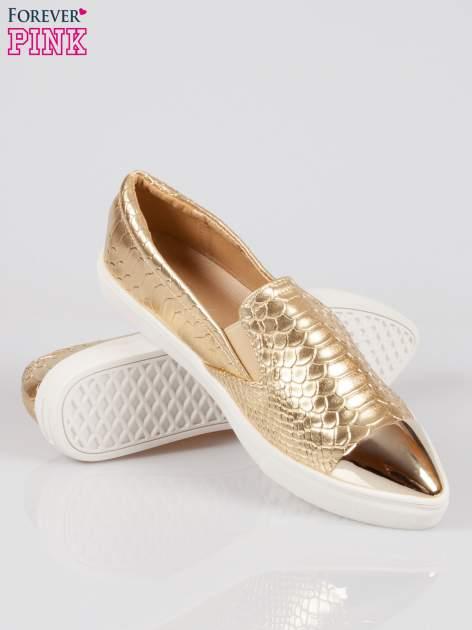 Złote wężowe buty slippers gold cap toe                                  zdj.                                  4