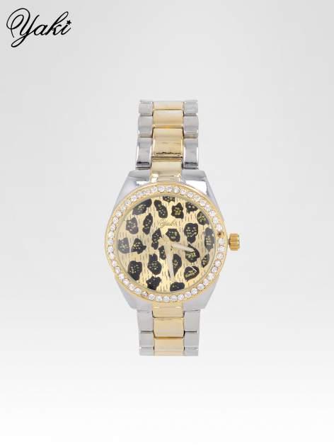 Złoto-srebrny zegarek damski na bransolecie z panterkową tarczą