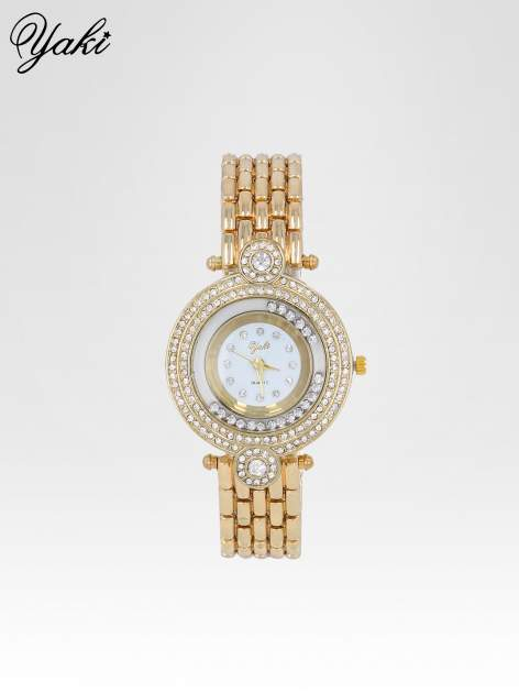 Złoty biżuteryjny zegarek damski z cyrkoniową kopertą                                  zdj.                                  1