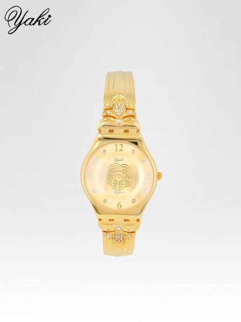 Złoty biżuteryjny zegarek damski ze złota tarczą