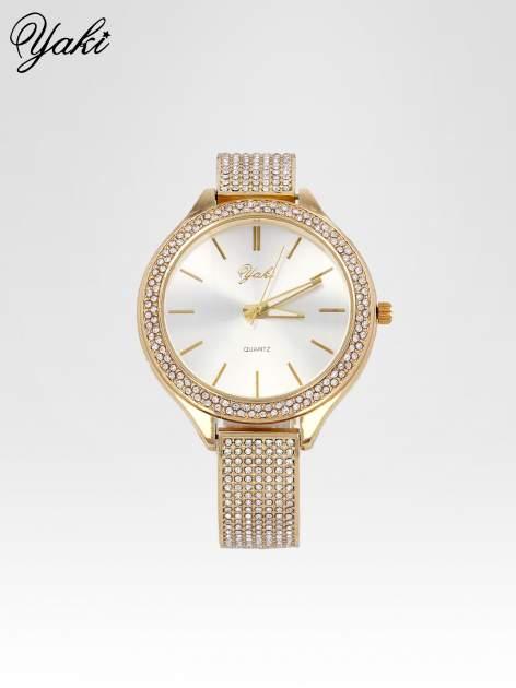 Złoty cyrkoniowy zegarek damski na bransolecie                                  zdj.                                  1