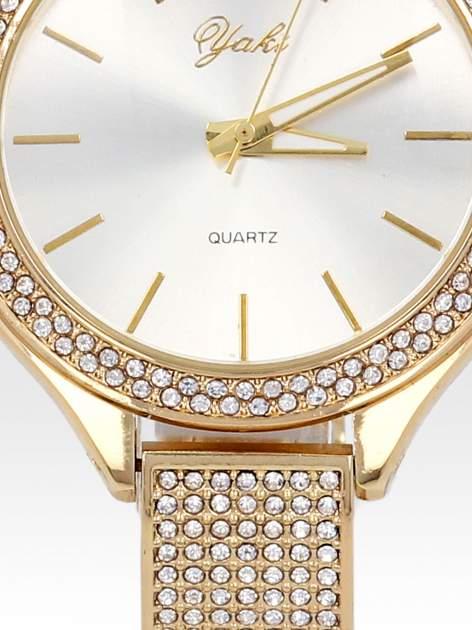 Złoty cyrkoniowy zegarek damski na bransolecie                                  zdj.                                  5