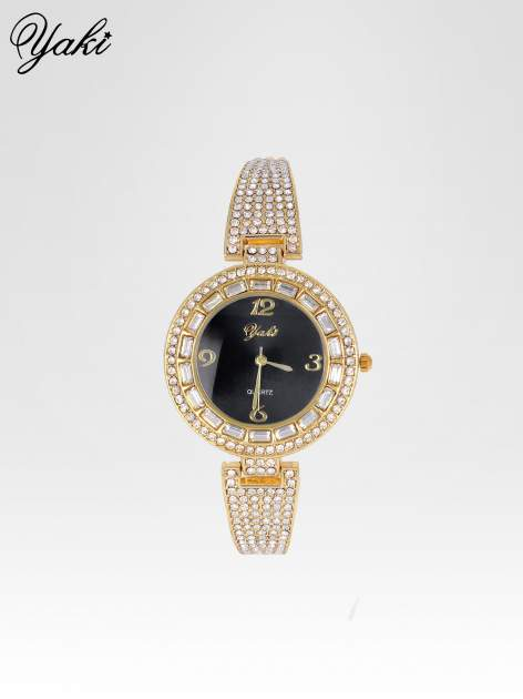 Złoty zegarek biżuteryjny z czarną tarczą i cyrkoniami