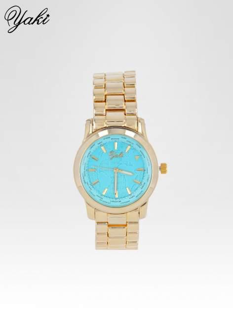 Złoty zegarek damski globtroter z niebieską tarczą z motywem mapy