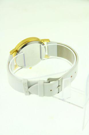 Złoty zegarek damski na białym pasku                                  zdj.                                  3