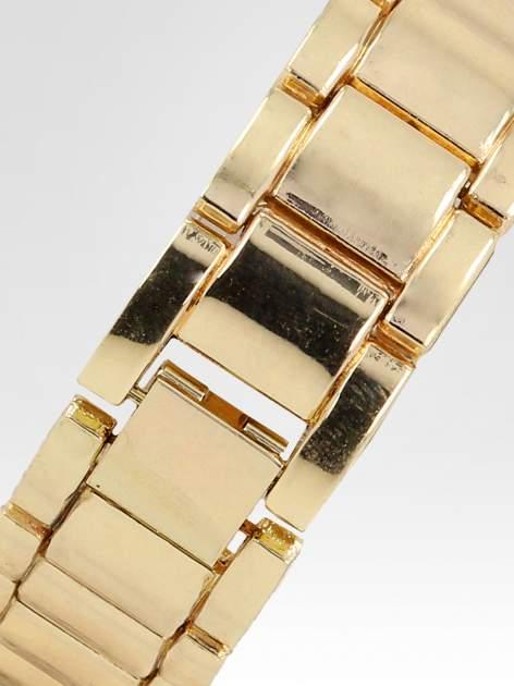 Złoty zegarek damski na bransolecie z białą cyrkoniową tarczą                                  zdj.                                  4