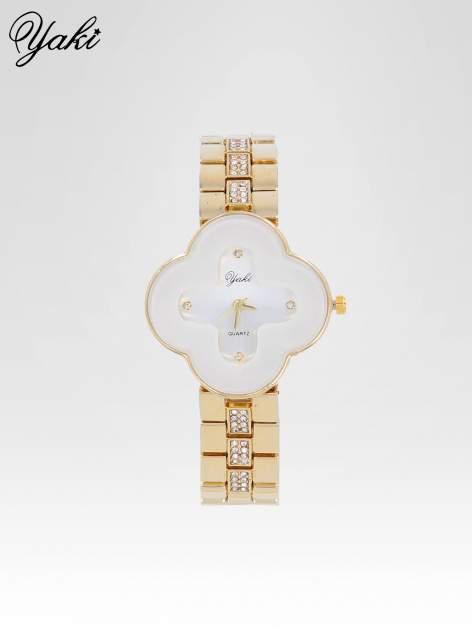 Złoty zegarek damski na bransolecie z biała tarczą koniczyną