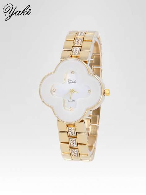 Złoty zegarek damski na bransolecie z biała tarczą koniczyną                                  zdj.                                  2