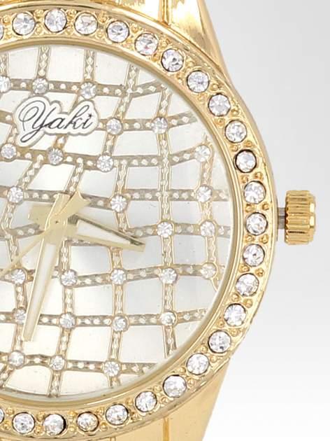 Złoty zegarek damski na bransolecie z cyrkoniową kopertą                                  zdj.                                  6