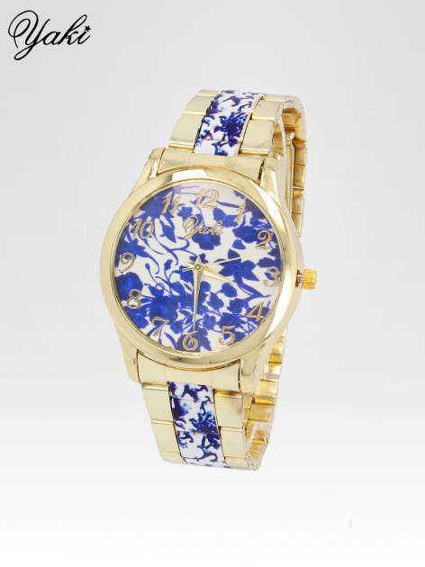 Złoty zegarek damski na bransolecie z niebieskim motywem kwiatowym                                  zdj.                                  2
