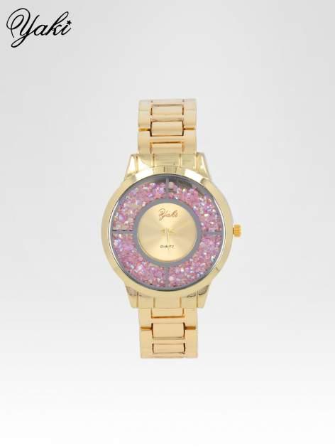 Złoty zegarek damski na bransolecie z tarczą glitter