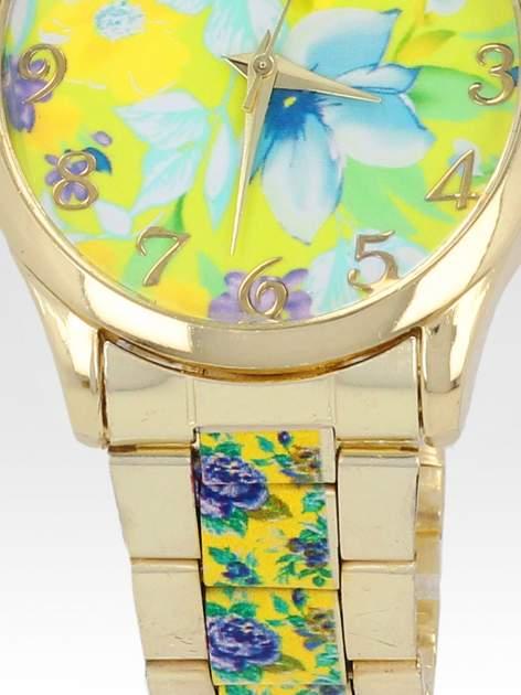 Złoty zegarek damski na bransolecie z żółtym motywem kwiatowym                                  zdj.                                  5