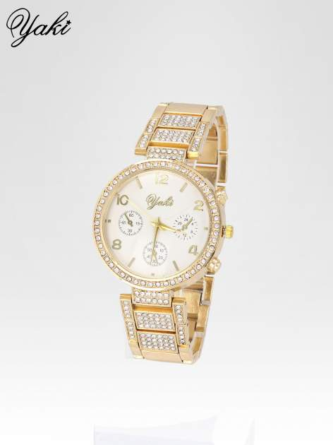 Złoty zegarek damski na cyrkoniowej bransolecie                                  zdj.                                  2