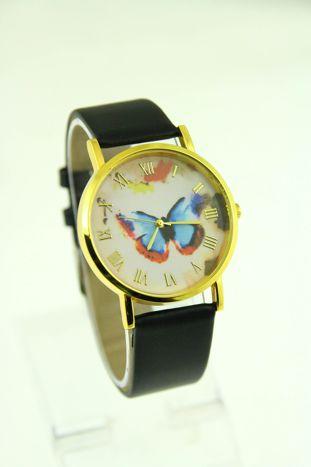 Złoty zegarek damski na czanym pasku                                  zdj.                                  1